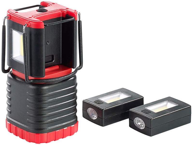 KryoLights 3D-Camping-Laterne CL-204.mt, mit 2 Taschenlampen, 200 lm; LED Akku Taschenlampen LED Akku Taschenlampen LED Akku Taschenlampen LED Akku Taschenlampen