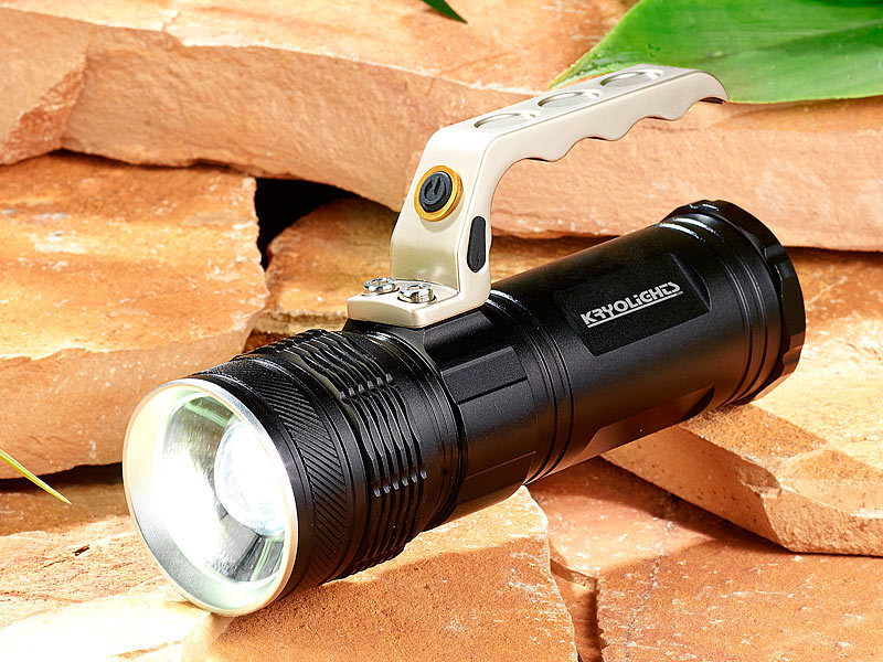 kryolights led akku taschenlampe trc mit zoom 1000 lm 10 watt ip65. Black Bedroom Furniture Sets. Home Design Ideas